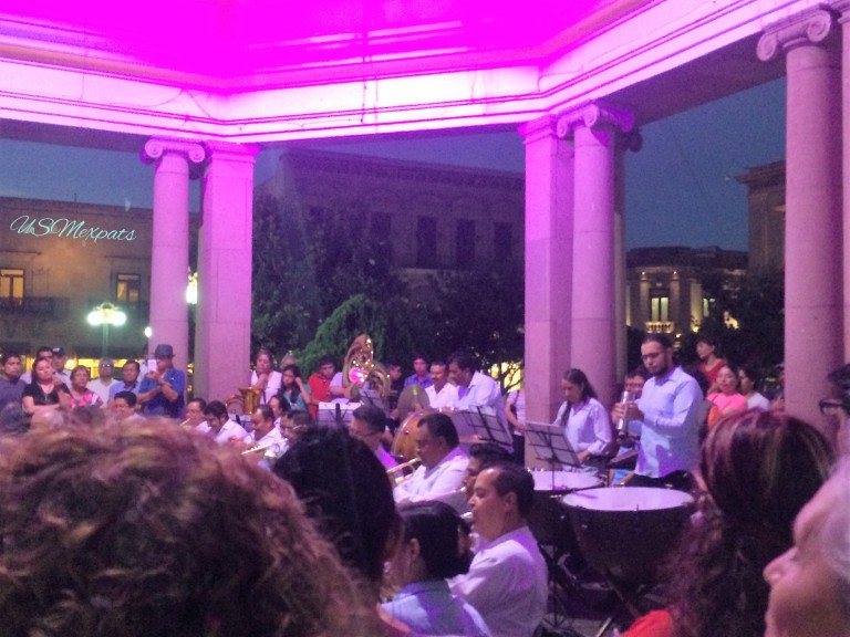 San Luis Potosi plaza de Catedral Metropolitana de San Luis Rey King San Luis Metropolitan Cathedral gazebo classical orchestra concert USMexpats