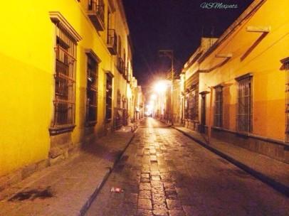 San Luis Potosi street views night windows yellow cobblestone USMexpats