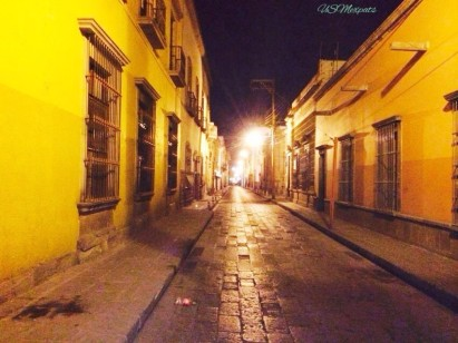 San Luis Potosi street views night windows yellow cobblestone USMexpats
